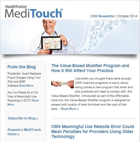 Oct. EHR Newsletter features articles on Value-Based Modifier program and more