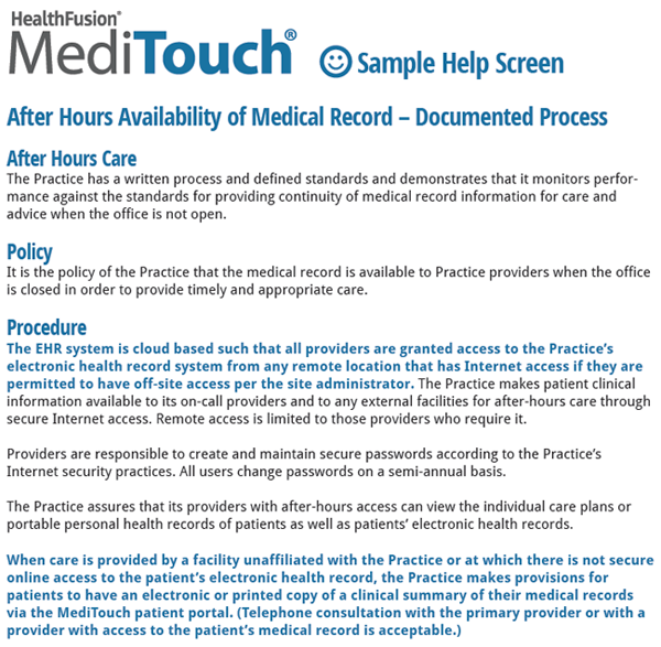 patient centered medical home ehr software help screen